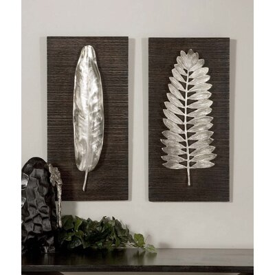 Uttermost Silver Leaves Wall Art by Billy Moon (Set of 2)