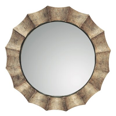 Gotham Round Distressed Sunburst Wall Mirror