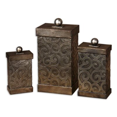 Uttermost Nera Box in Antiqued Silver Leaf (Set of 3)