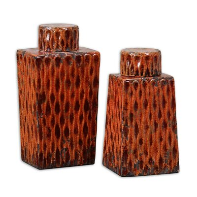 Raisa Container in Distressed Crackled Burnt Orange (Set of 2)