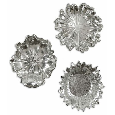 Uttermost Silver Flowers Wall Art in Silver (Set of 3)