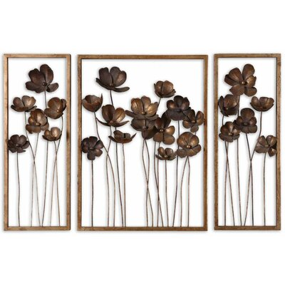 uttermost 3 piece metal branches tulips wall d cor set. Black Bedroom Furniture Sets. Home Design Ideas