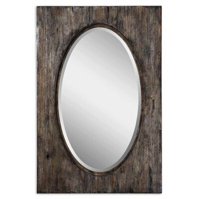 Uttermost Hitchcock Beveled Mirror in Antiqued Natural Wood Tone