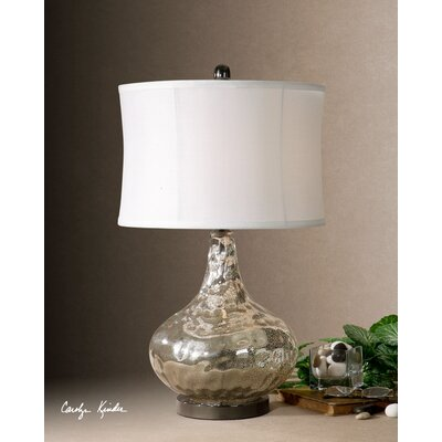 Uttermost Vizzini Table Lamp in Antique Crackled Polished Chrome and Black Nickel