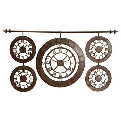 Time Zones Clock in Distressed Dark Brown