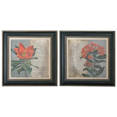 2 Piece Vintage Fleur Rouge Floral Wall Art Set