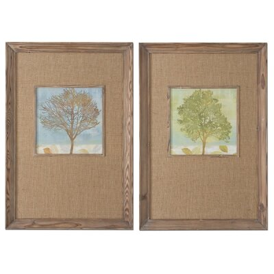 Tree Seasons 2 Piece Framed Painting Print Set