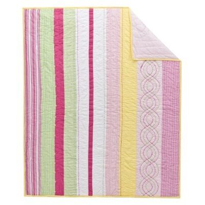 Bacati Girls Stripes Cotton Rod Pocket Curtain Single Panel