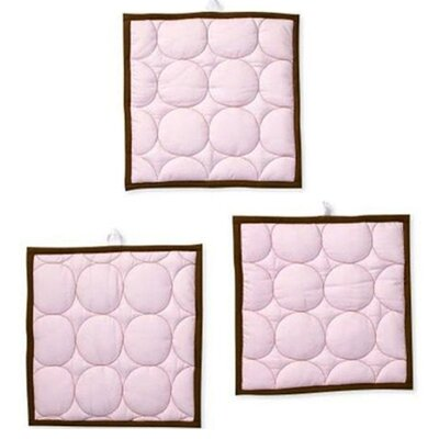 Bacati Quilted Circles Three Piece Wall Hangings in Pink and Chocolate