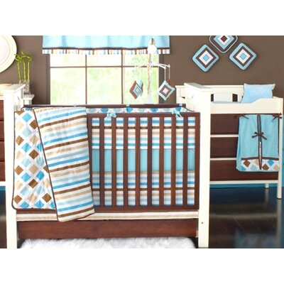 Bacati Mod Diamonds and Stripes 10 Piece Crib Bedding Set in White, Aqua and Chocolate