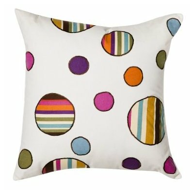 Bacati Dots and Stripes Spice Square Decorative Pillow