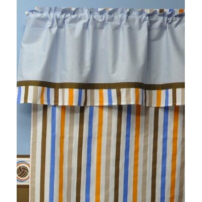 Bacati Mod Sports Stripes Cotton Rod Pocket Curtain Single Panel