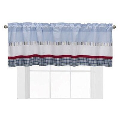 Bacati Boys Stripe and Plaids Cotton Blend Rod Pocket Tailored Curtain Valance