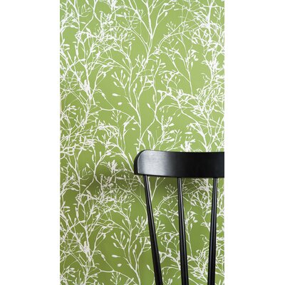 ferm LIVING Wild Flower Wallsmart Wallpaper in Green / White