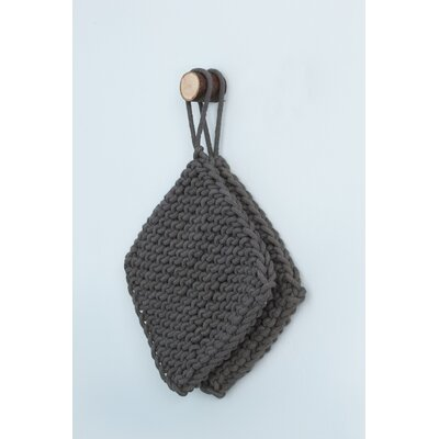 ferm LIVING Knitted Pot Holders in Charcoal (Set of 2)