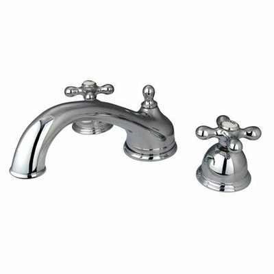 Elements of Design Double Handle Deck Mount Roman Tub Faucet Trim Metal Cross Handle