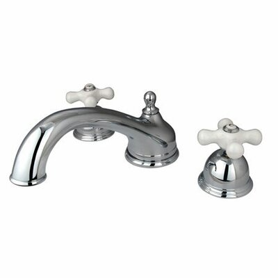 Elements of Design Double Handle Deck Mount Roman Tub Faucet Trim Porcelain Cross Handle