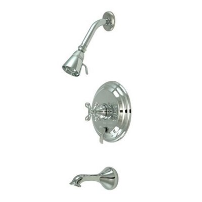 Elements of Design Heritage Thermostatic Pressure Balanced Tub and Shower Faucet with Metal Cross Handles