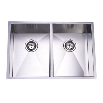 "Elements of Design 29"" x 20.06"" Towne Square Undermount Offset Double Bowl Kitchen Sink"