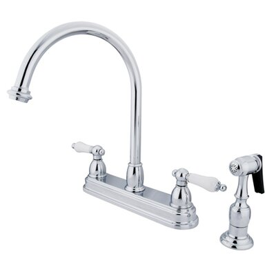 Restoration Deck Mount Double Handle Centerset Kitchen Faucet with Porcelain Lever Handles and ...
