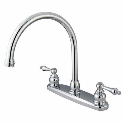 Victorian Double Handle Centerset Goose Neck Kitchen Faucet with Metal Handles