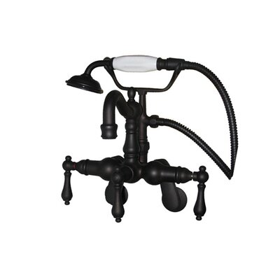 Elements of Design Hot Springs Three Handle Wall Mount Clawfoot Tub Faucet with Handshower