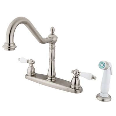 Elements of Design Heritage Double Handle Centerset Kitchen Faucet with Porcelain Lever Handles