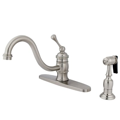 Elements of Design One Handle Centerset Kitchen Faucet with Buckingham Lever Handle