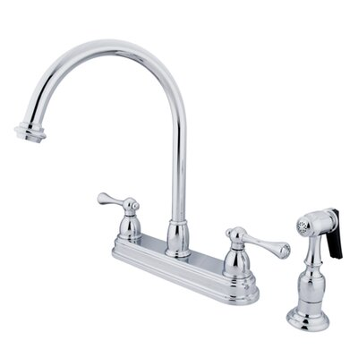 Elements of Design Vintage Deck Mount Double Handle Centerset Kitchen Faucet with Buckingham Lever Handles