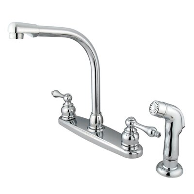 Victorian Double Handle Centerset High Arch Kitchen Faucet with Metal Lever Handles and Plastic ...