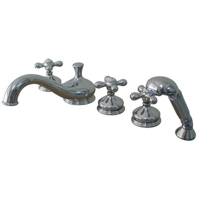 Elements of Design Heritage Double Handle Deck Mount Roman Tub Faucet Trim Metal Cross Handle