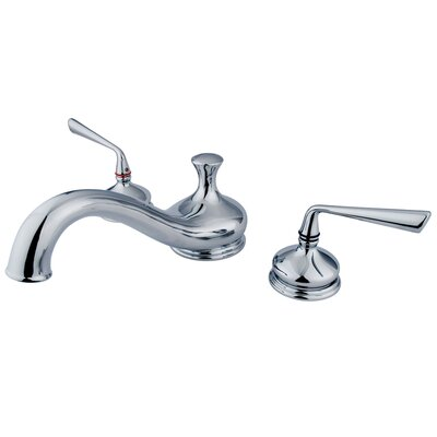 Elements of Design Silver Sage Double Handle Deck Mount Roman Tub Filler