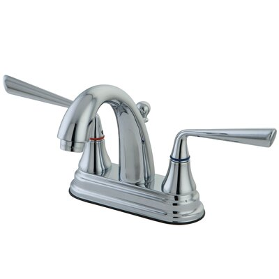 Elements of Design Silver Sage Double Handle Centerset Bathroom Faucet with Brass Pop-Up