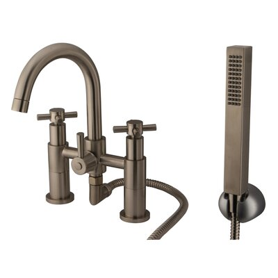 Elements of Design Concord Double Handle Deck Mount Roman Tub Filler with Hand Shower