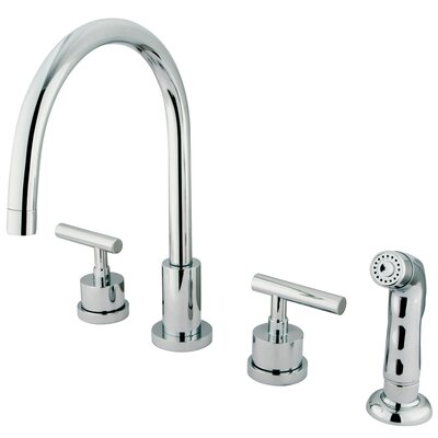 Elements of Design Manhattan Double Handle Single Hole Widespread Kitchen Faucet with Non-Metallic Sprayer