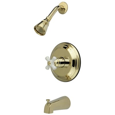 Elements of Design Vintage Thermostatic Pressure Balanced Tub and Shower Faucet with Porcelain Cross Handles