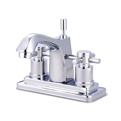 Elements of Design South Beach Double Cross Handle Centerset Bathroom Faucet with Brass Pop-Up