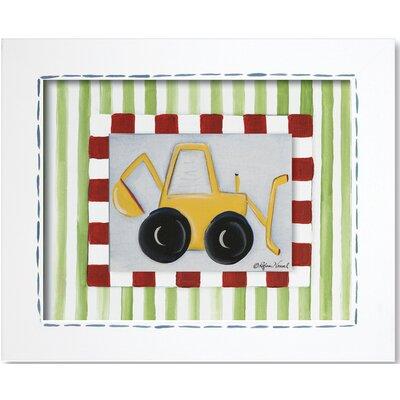 Doodlefish Transportation Backhoe Framed Giclee Wall Art