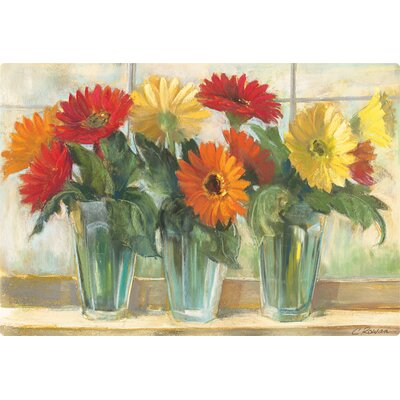 Gerberas in Glass Vases Cutting Board