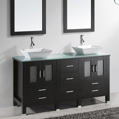 Virtu Bradford 60quot; Double Bathroom Vanity Set with Mirror amp; Reviews