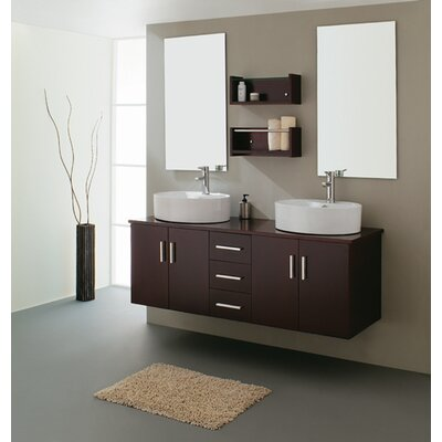Virtu Enya Double 59.1&quot; Bathroom Vanity Set in Espresso