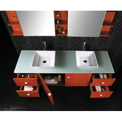 "Virtu Ultra Modern Clarissa 61"" Double Bathroom Vanity Set with Glass Top in Honey Oak"