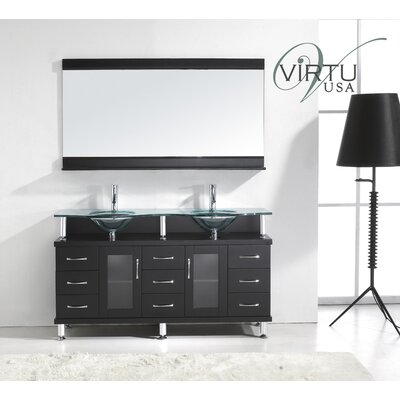 "Virtu Rocco 61"" Double Sink Bathroom Vanity Set"