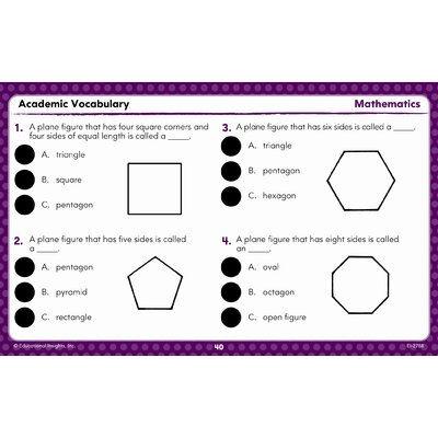 Educational Insights Hot Dots Academic Vocabulary Card Sets Grades 1-3