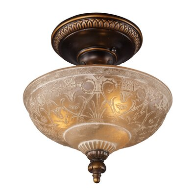 "Landmark Lighting 12"" Restoration 3 Light Semi Flush Mount"
