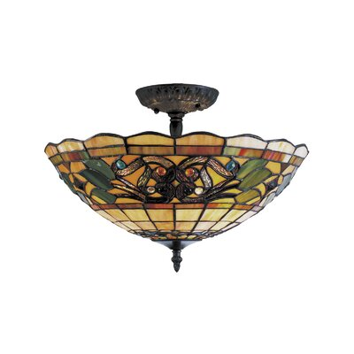 Landmark Lighting Tiffany Buckingham 3 Light Semi Flush Mount
