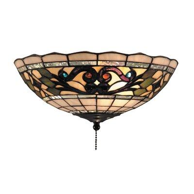 Tiffany Buckingham Fan Kit / Ceiling Mount with Leaf and Vine Design in Vintage Antique ...