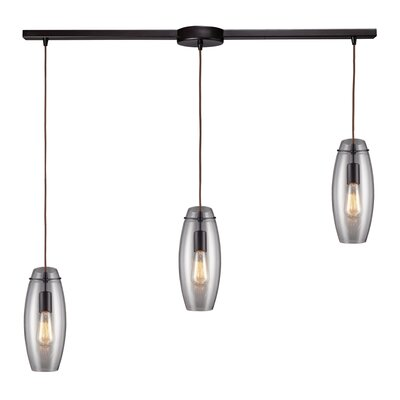 Menlow Park 3 Light Pendant with Clear Glass