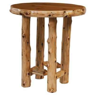 Traditional Cedar Log Round Pub Table and Tenoned Leg Rests Barstool Set
