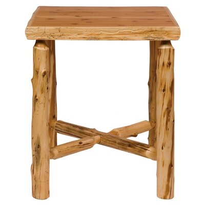 Traditional Cedar Log Square Pub Table and Outside Footrests Barstool Set
